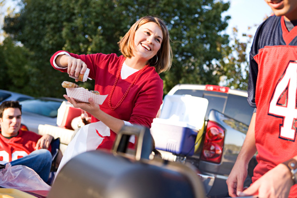 Woman at tailgate party