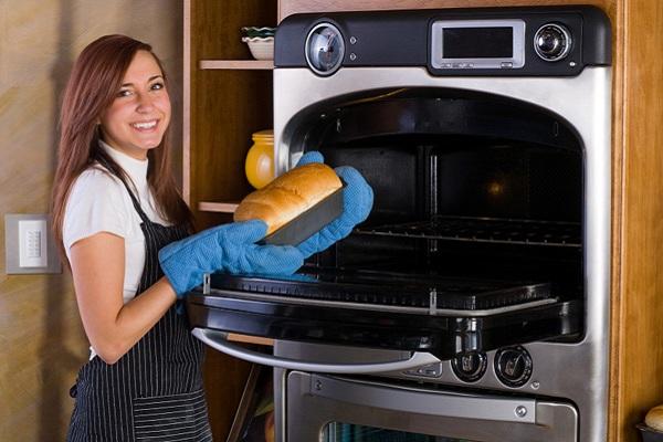 woman making bread