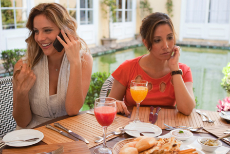 Woman being ignored by friend