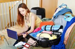 woman booking an online flight