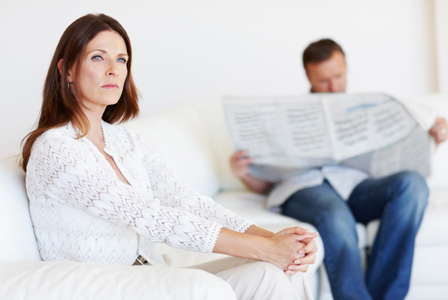 Woman bored with husband