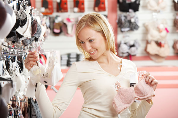 Woman shopping for a bra