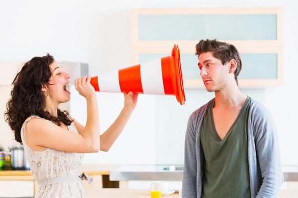 Woman breaking up with boyfriend