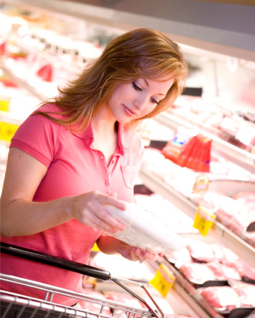 Woman buying meat