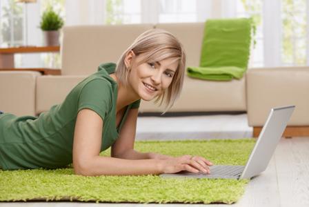 Woman calculating carbon footprint