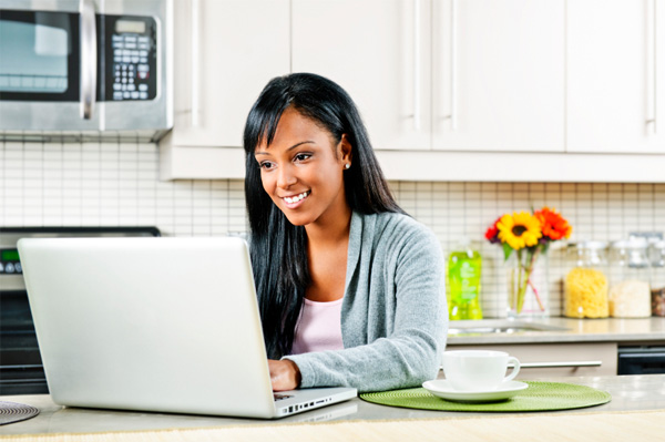 Woman chatting on online forum