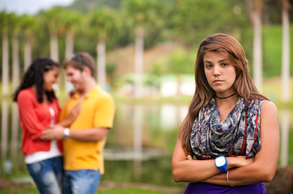Woman choosing boyfriend over friend