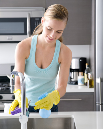 Woman cleaning without chemicals