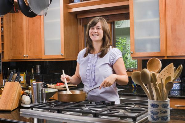 woman cooking stir fry