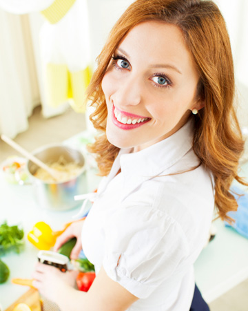Woman cooking vegan food