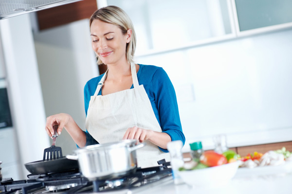 woman cooking dinner