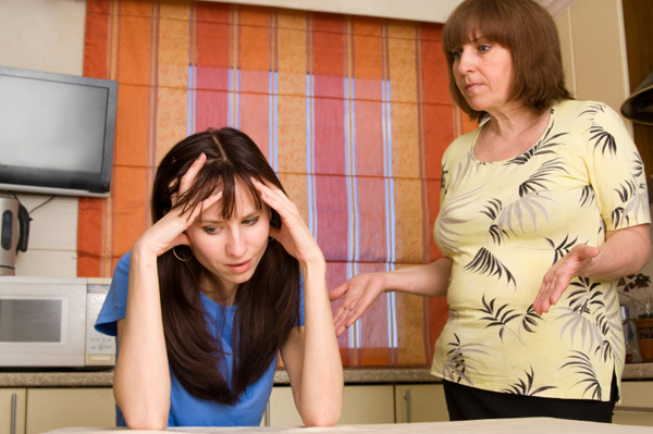 Woman dealing with mother-in-law