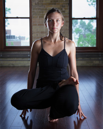 Woman doing Bikram Yoga