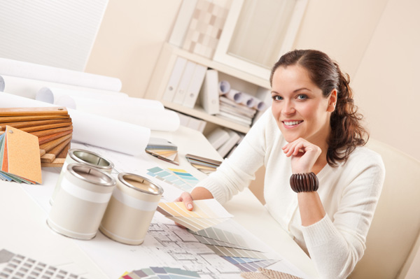 Woman doing interior design