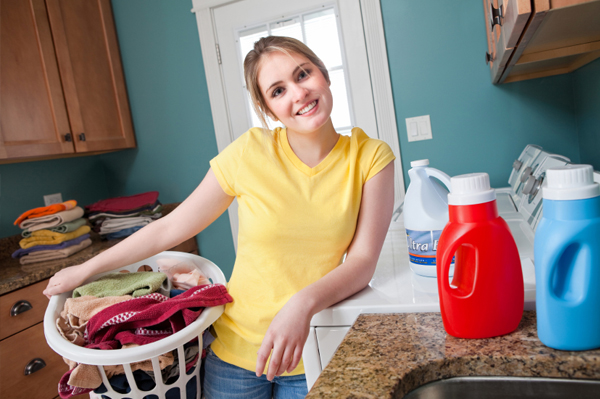 woman working on laundry