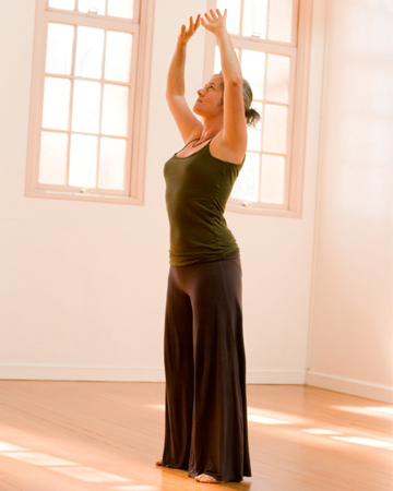 Woman doing morning stretch