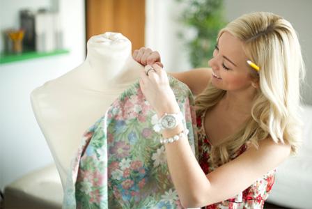 Woman making dress