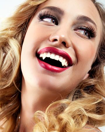 Woman dressed as vampire