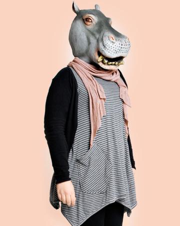 Woman dressed up like rhino
