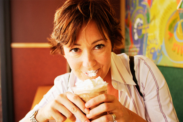Woman drinking frappaccino