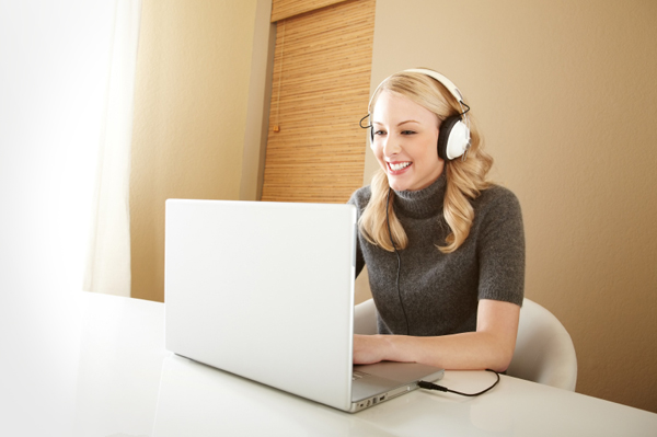 Woman editing videos