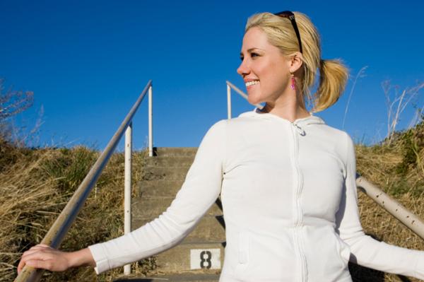 Woman energized by walk