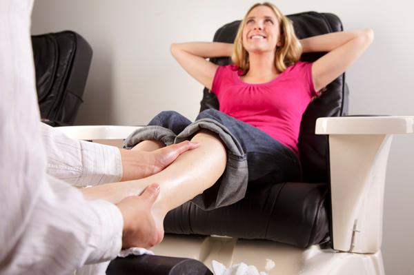 Woman getting a pedicure