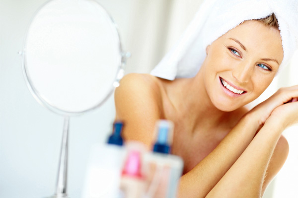 Woman getting ready in the morning