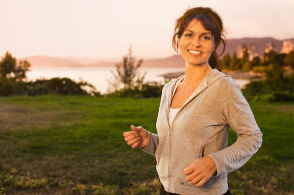 Woman going for an early morning walk