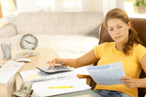 Woman reviewing superannuation finances