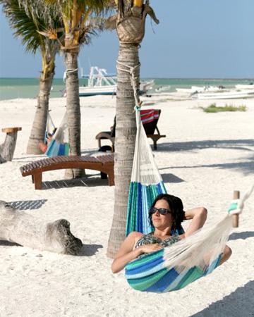 Woman in hammock in Cancun
