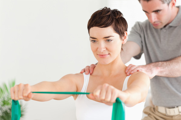Woman having physical therapy
