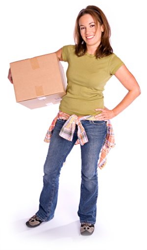 Woman holding box of toys
