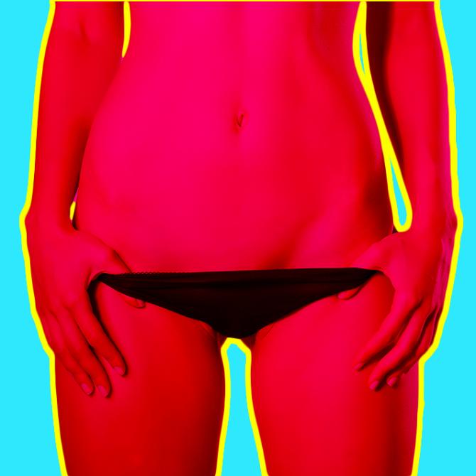 Woman in her underwear