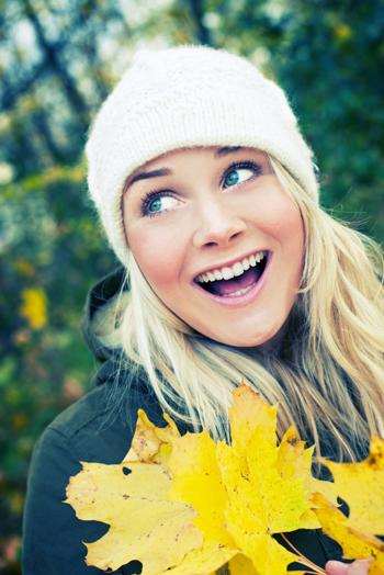 Woman in Fall wearing hat