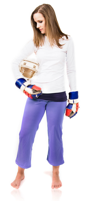 Woman in Hockey Gear