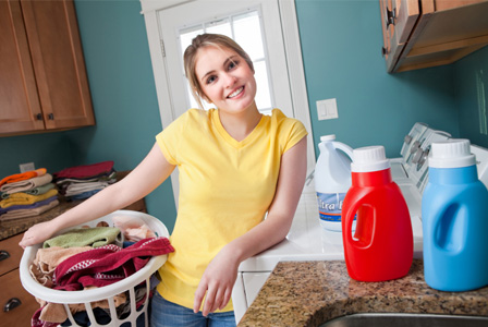 Woman in laundry room