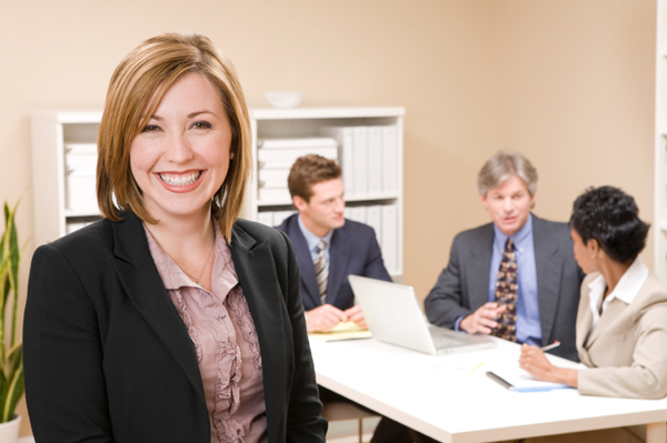 Woman in her 30s in an office