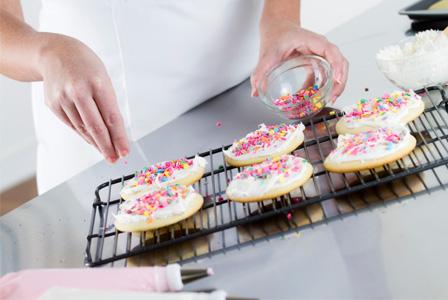 Woman making sugar cookies