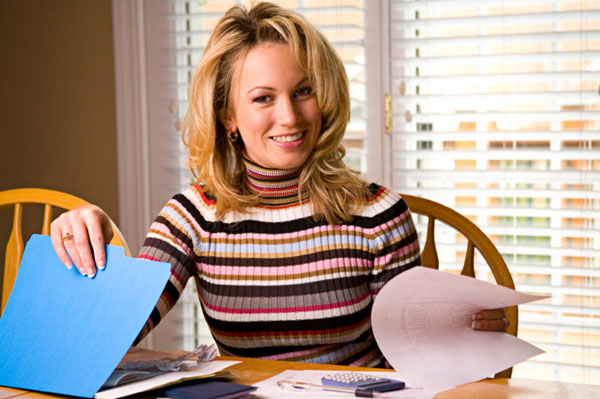 Woman managing finances