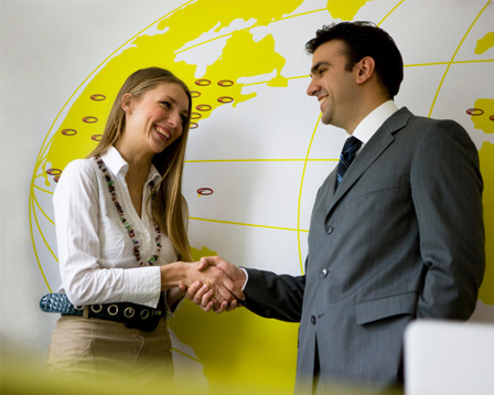 Woman meeting with travel agent