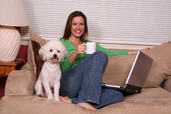 Woman on pet community website