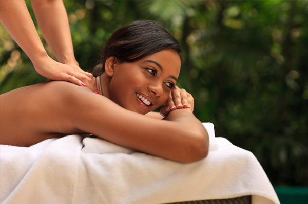 Woman on solo spa vacation