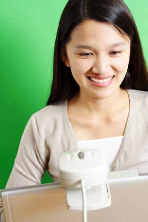 Woman on web cam