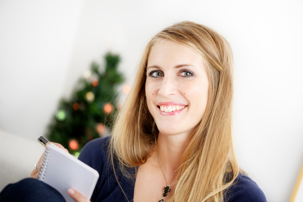 Woman planning for the holidays
