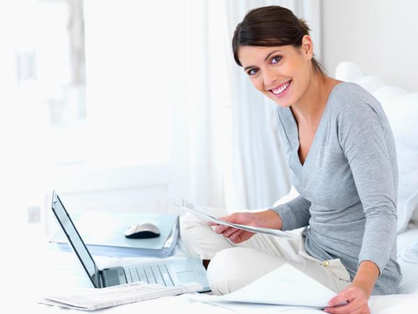 Woman preparing taxes