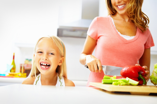 Woman prepping school lunches