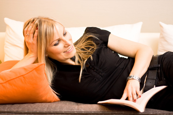 Woman reading on the couch