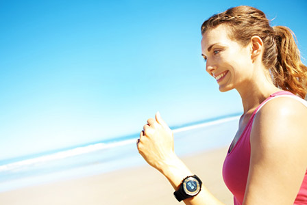 woman running with watch