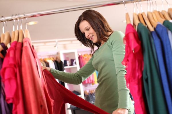 woman buying smaller size clothing